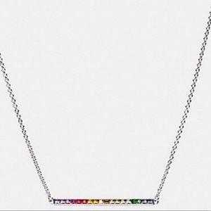 Coach Multicolor Rainbow Bar Pendant Necklace